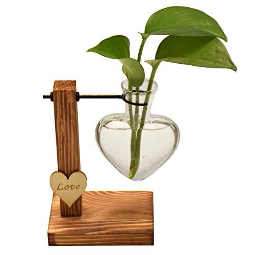 Magiin Deko Holz Halter mit Hydroponik Hängevase Glasvase Blumenvase Tischvase Dekovase Holz Halter (Herzform A)