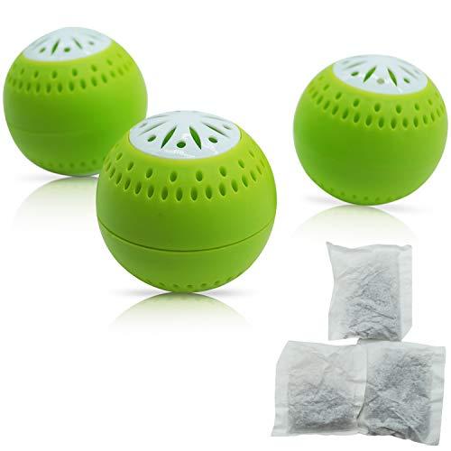 Natürlicher Geruchsneutralisierer - inkl. 3 Nachfüllpacks für eine lange Wirkungsdauer - 2-in-1 Funktion mit Aktivkohle - Geruchsentferner Luftentfeuchter kühlschrank-deo duft geruchskiller frisch