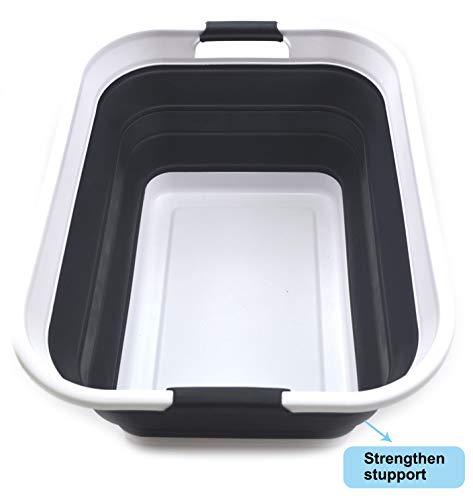 SAMMART Zusammenklappbarer Wäschekorb aus Kunststoff - Zusammenklappbarer Aufbewahrungsbehälter/Organizer - Tragbare Waschwanne - Platzsparender Korb/Korb (schwarz, 1)