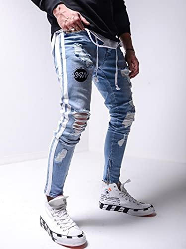WQZYY&ASDCD Jeans Vaqueros Pantalon Vaqueros Hombre Vaqueros Rasgados Hombre Casual Slim Fit Vaqueros...