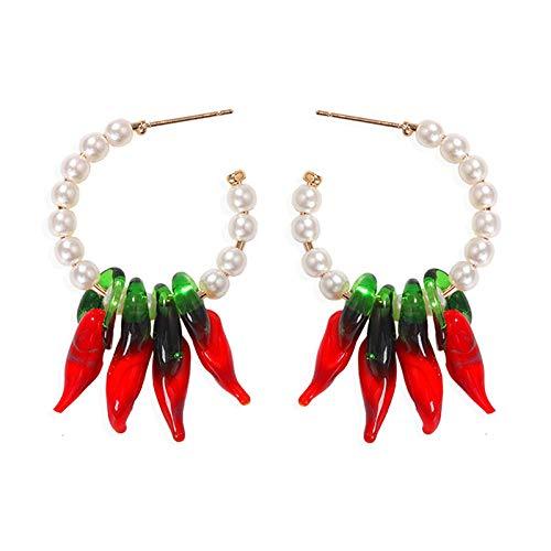 Pendientes colgantes de pimiento rojo apasionado Pendientes de costura de perlas en forma de C