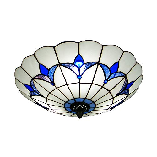 BAYCHEER HL298682 Tiffany Style Ceiling Fixture Flush Mount Ceiling Light Mediterranean Glass Shade Lamp Semi Flush Mount Light use 3 E26 Light Bulbs Blue and White