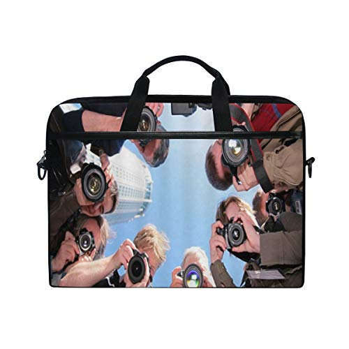 LOSNINA Laptop Tasche 15-15.4 Zoll,Journalist Reporter Kamera Paparazzi,Neue Leinwand Drucken Muster Aktentasche Laptop Schulter Messenger Handtasche Case Sleeve