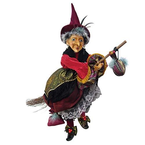 Hexen von Pendle-Maureen Hexe fliegend (rot & gold) 50cm
