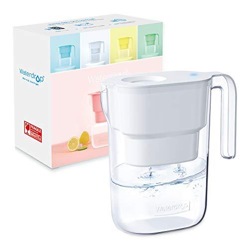 Waterdrop NSF Zertifizierte Wasserfilterkrug 2.5 Liter mit 1×90 Tage Filterkartusche, 7-Stufige Filteration zur Reduzierung von Chlor, Geruch und Mehr, BPA Frei, Weiß (Ersatzfilter: WD-PF-01A Plus)