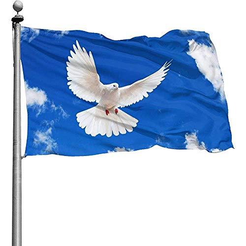 Dem Boswell Garten Flagge Blauer Himmel Friedenstaube Garten Fahnen Langlebig Verblassen Beständig Dekorative Fahnen Außenbanner Für Alle Jahreszeiten Feiertage 150 X 90 cm
