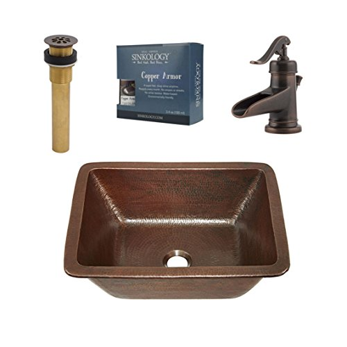 Sinkology SB205-17AG-F042 Ashfield Hawking 17-in. All-in-One Undermount or Drop-in Copper Sink Design Kit with Pfister Rustic Bronze Faucet and Drain