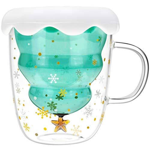Christmas Tree Double Walled Glass Cups Coffee Mugs (10oz)