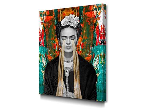 Foto Canvas Schilderijen Frida Kahlo | Decoratieve Canvases - Wanddecoratie - Woonkamer Schilderijen | 60 x 80 cm Klaar Om Op Te Hangen Voor Woonkamer Inrichting - Slaapkamer Decoratie