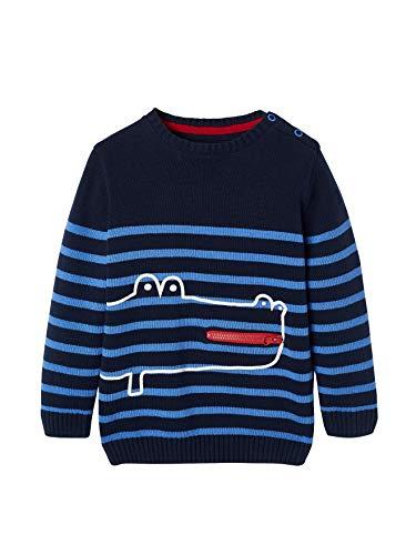 Vertbaudet Ringelpullover für Jungen mit Krokodil Nachtblau/blau gestreift 116