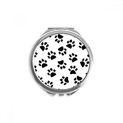 DIYthinker Katze Footprint-Tier-Kunst-Korn-Muster Spiegel Runde bewegliche Handtasche Make-up 2.6 Zoll x 2.4 Zoll x 0.3 Zoll Mehrfarbig