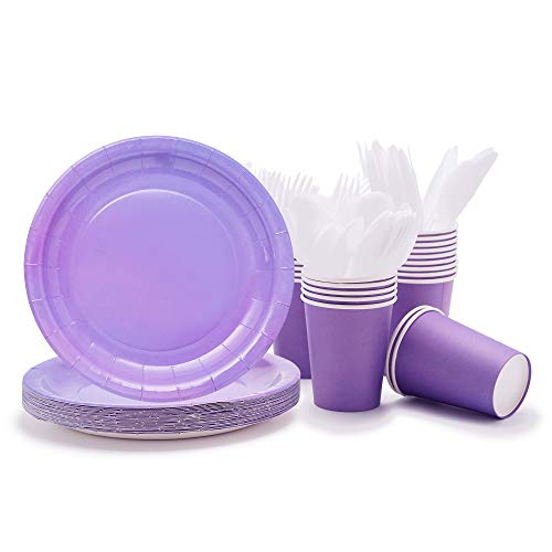 Party Paper Plates, Cups, Flatware, 120-Piece Disposable Dinnerware Set, Purple, Includes 9-Inch Dinner Plates, 9oz Cups, Knives, Forks, and Spoons, Serves 24 …