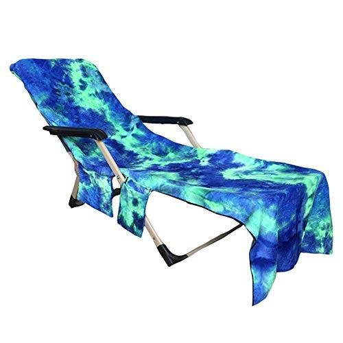 Beach Chair Cover Towel Lounge Chair Towel Cover with Side Storage Pockets Microfiber Terry Beach Towel for Pool Sun Lounger Sunbathing Vacation 82.5'x29.5' (Green)