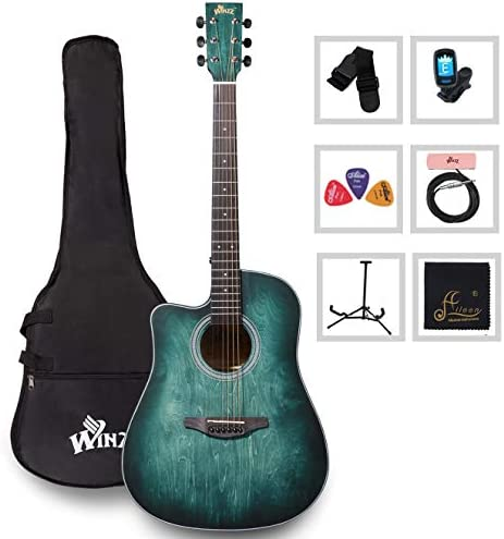 Left Handed 41 Inches Cutaway Acoustic Guitar Beginner Starter Bundle with Padded Bag Stand product image
