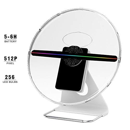 Proyector De Ventilador LED De Holograma 3D con Cubierta Protectora De Silencio Transparente, Batería Recargable, para Centro Comercial, Hogar, Pantalla De Eventos Festivos, 12 Pulgadas / 30 Cm