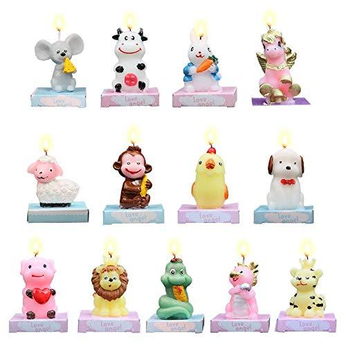 Cokeymove Vela de cumpleaños Colorido Animal de Dibujos Animados Lindo Pastel sin Humo Velas para Fiesta en casa Decoración del día de los niños