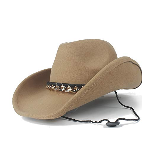 LQ-BNM Panamahut - Winter Cowboyhoed, Neutrale Western Denim Leather Vilt hoed, Wolljazz heren metalen riem Decoratieve Panama Hoed (maat: 56-59cm)