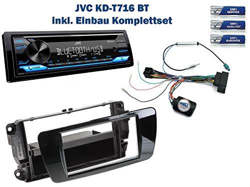 NIQ Autoradio Einbauset geeignet für Seat Ibiza inkl. JVC KD-T716BT & Lenkrad Fernbedienung Adapter in Piano-Schwarz