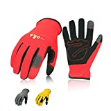 Vgo 3Pairs Nubuck Leather Work Gloves Garden Gloves Construction Builder Driver Daily Gloves (Size 9/L, Red+Grey+Yellow, NB7581)