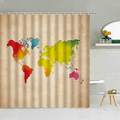 QWGTR DuschvorhangKreativität Weltkarte Duschvorhänge Gemaltes Muster Stadt Architektur Polyester Stoff Badezimmer Liefert Wohnkultur Mit Haken
