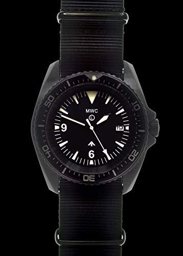 MWC Military Divers Watch in PVD Steel Case with Sapphire Crystal and Ceramic Bezel (Quartz)