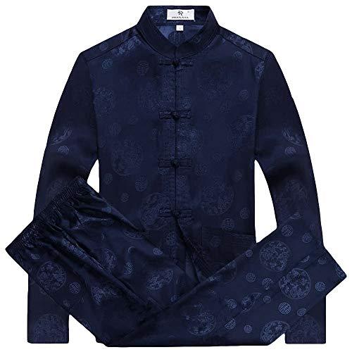 ZooBoo Mens Martial Arts Kung Fu Uniform Long Sleeve Tang Suit with Dragon Pattern (Royal Blue, XXL)