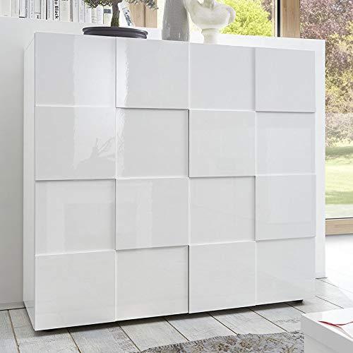 M-012 Buffet Haut Design Blanc laqué SANDREA