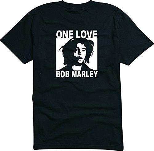T-Shirt Herren schwarz - One Love - Bob Marley - L