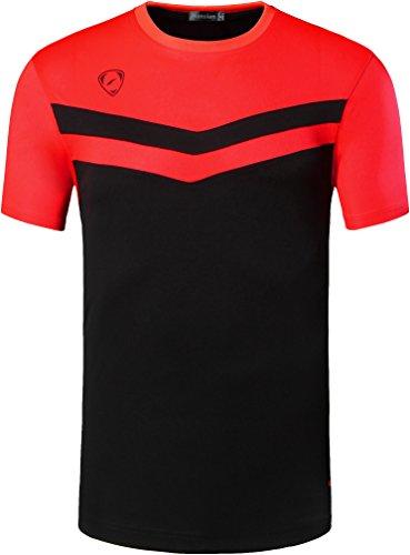 jeansian Men's Sport Quick Dry Short Sleeves T-Shirt LSL146 Black XL