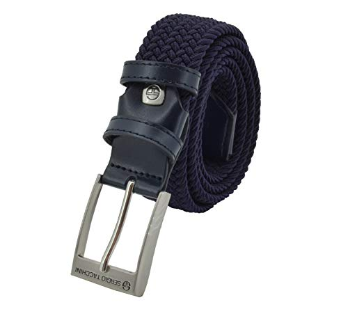 Sergio Tacchini Cintura Elastica Intrecciata, Uomo Donna, Con Inserti in Vera Pelle, Scatola Regalo Blu Scuro 125
