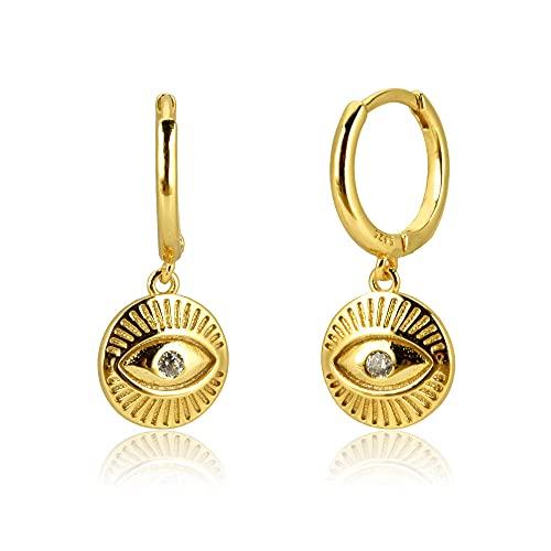 Pendientes Mujer Plata De Ley 925 Monedas De Oro Ojos Zircon Cz Pendiente De Gota Redondo Rock Punk Luck Eye Piercing Pendiente Jewelry Gold