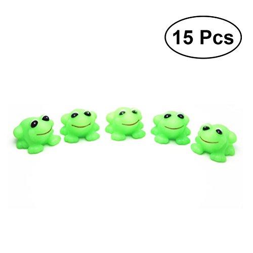 15 Pcs Grenouille Bébé Bain Jouets Squeeze Sound Bathtime Fun Toys Funny Toy pour Les Tout-Petits Et Les Enfants (Vert)