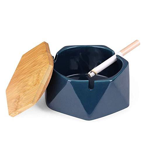 Cerámica con cenicero de Tapa, Soporte de Ceniza a Prueba de Viento, cenicero geométrico, con Tapa de Madera hexágono para casa, Oficina, Sala de Estar (Color : Blue)
