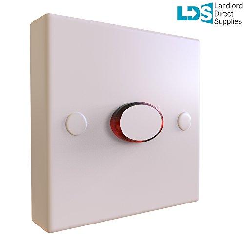 Temporizador electrónico de Landlord Direct Supplies. - - Ahorro de electricidad para propietarios de hoteles, oficinas, escuelas, etc. Fácil de instalar, no requiere cable neutro, no se queda atascado como los conmutadores neumáticos, fácil de localizar gracias al perímetro de luces rojas de neón. Material ABS de alta calidad, color blanco