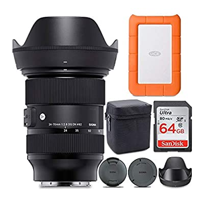 Sigma 24-70mm f/2.8 DG DN Art Zoom Full Frame Sony E-Mount Lens with LaCie Rugged Mini 1TB Hard Drive and 64GB SD Card Bundle (3 Items) from SIGMA