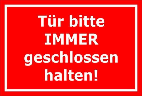 Melis Folienwerkstatt Aufkleber – Tür Immer geschlossen - 15x10cm – S00085-141-D 20 VAR