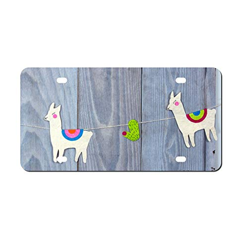 Setting 475155 Llama Cactus Wood Front Vanity Plate,Aluminum Car Tag Holder,Licesen Plate Frame,Auto Accessory Gifts