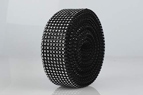 Acrylic Bling Diamond Rhinestone Mesh Ribbon, Diamond Wrap Ribbon for Art & Craft, Wedding Cakes, Event Decoration   30Ft/10 Yards 1.5 inch Width 1 Roll of 8 Rows   Black