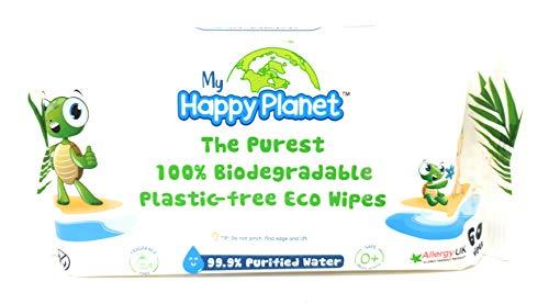 WebPHarm Babytücher 99,9% gereinigtes Wasser, ohne Kunststoff, zerbrechlich, 0% Polyester, 100% biologisch abbaubar, 60 Stück