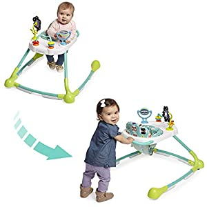 Kolcraft Tiny Steps Too 2-in-1 Infant & Baby Activity Walker – Seated or Walk-Behind, Forest Friends