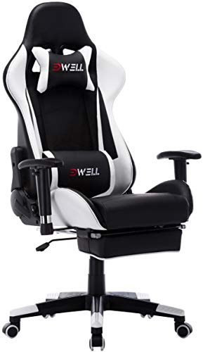 Computer Gaming Chair Office Desk Chair,Large Size Racing Chair High-Back Ergonomic PU Leather Adjustable Esports Desk Chair with Headrest Massage Lumbar Support Retractable Footrest (White) chair gaming white