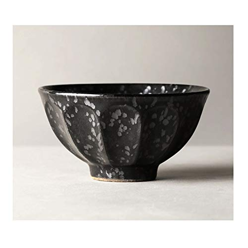 LI MING SHOP-Müslischale L-H Thick Ceramic Bowl, Einfache Nudeln/Korn/Suppenschüssel, Mikrowelle Hotel Haushalt Geschirr Küchenzubehör (Color : Black, Size : 16x8.5cm)