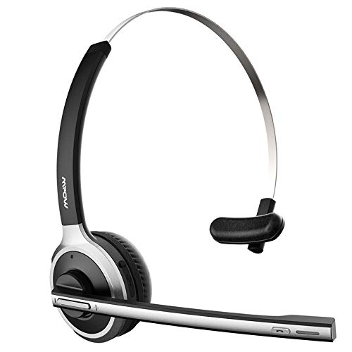 Mpow M5 Trucker Bluetooth Headset with Flip-to-Mute Microphone, Bluetooth 5.0, Noise Cancelling Mic, 18 Hours Talk Time, On Ear Wireless Headphones for Home, Office, Call Center, Driving
