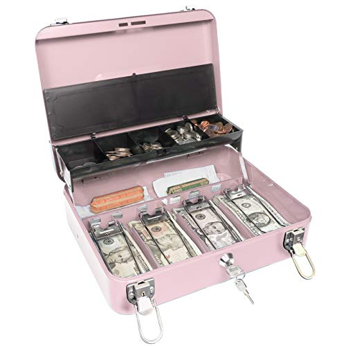 Certus Global Large Pink Cash Box with Money Tray Secure Lock Cantilever Coin Tray 4 Bills 5 Coins Pink