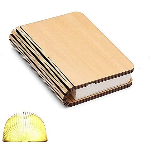 Lámpara de libro de madera, mini libro plegable, luz magnética, USB recargable, baterías de litio de 880 mAh, lámpara de mesa de escritorio LED para decoración, aniversario o regalo de San Valentín pa