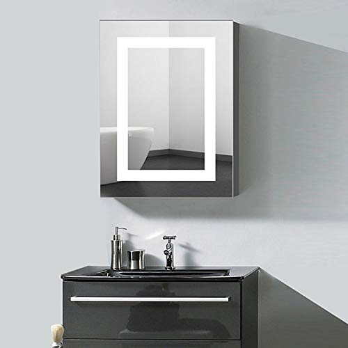 24 x 32 in. Vertical LED Lighted Mirror Cabinet Wall Mount Illuminated Medicine Cabinet with Infrared Sensor (A-NS168-G)