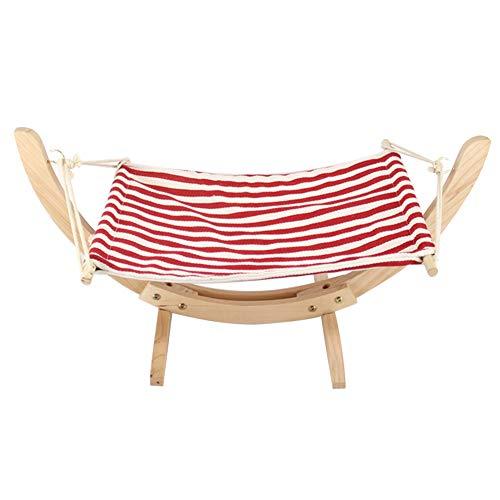 Hzb821zhup huisdier houten kat hangmat opknoping Nest kat hangmat Nest hond cradle kat bed schommel beugel zachte matras bed slapen hangmat, Eén maat, Red + White