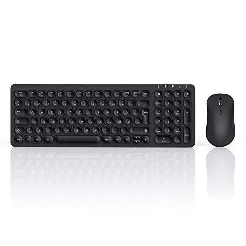 seenda Tastatur Maus Set Kabellos Wiederaufladbar, 2,4 GHz Metallic Ultra-Dünne Leise Funktastatur mit Maus,Tastatur Maus Set Klein für PC/Laptops/Computer/Smart TV, Schwarz
