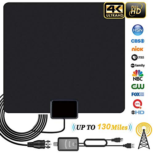 Digital Amplified 4K HD Indoor Smart TV Antenna – 80 130 Miles Range Support 1080p and Older TV's Powerful HDTV Best Amplifier Signal Booster – 9.8ft Coax Cable/USB Power Adapter