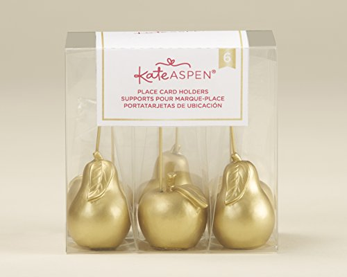 Kate Aspen, Gold Apple and Pear Place Card Holder (Set of 6), perfect for Party Favors & Party Decors, Wedding favors, Holiday Party Decor